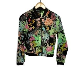 Paper Tree Lightweight Thin Black Floral Jacket S